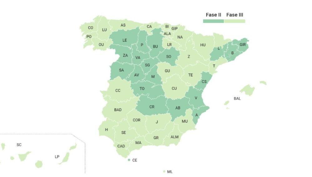 Mapa de la desescalada en España desde el 8 de junio